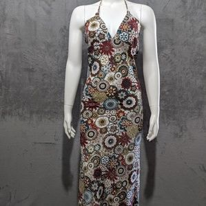 Any Age brown multicolor floral halter midi dress